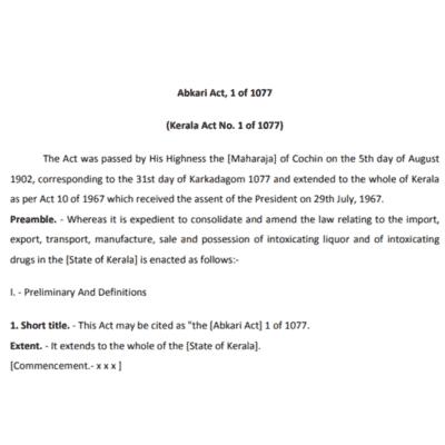 KERALA Ganja and Bhang AKBARI Act, 1902
