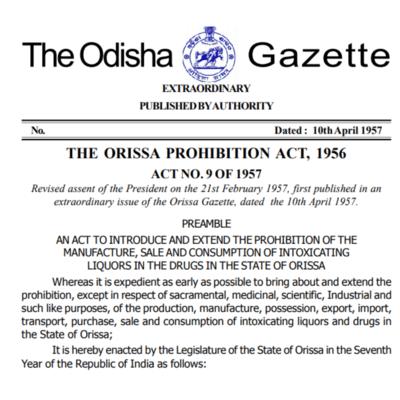 THE ORISSA PROHIBITION ACT, 1956