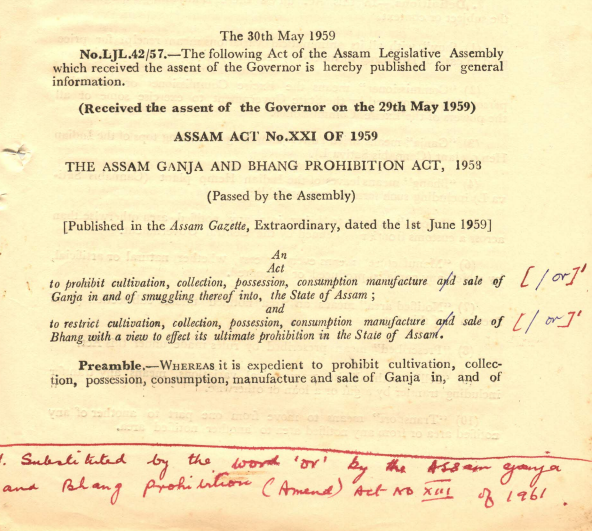 The Assam Ganja and Bhang Prohibition Act, 1959