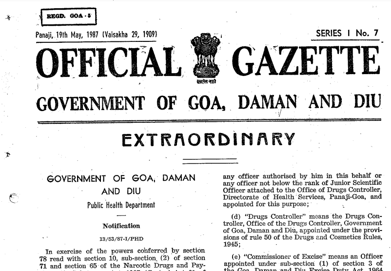 Goa Narcotic Drugs Psychotropic Substances Rules 1987